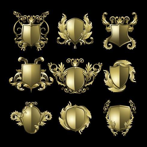 Classic golden Baroque shield template