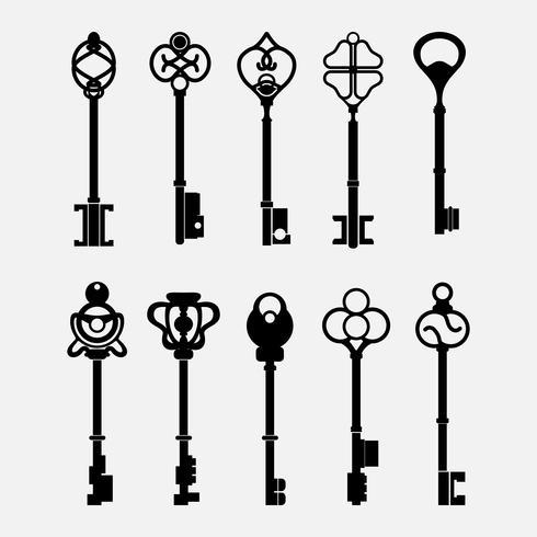 Conjunto de vectores clave de diseño vintage