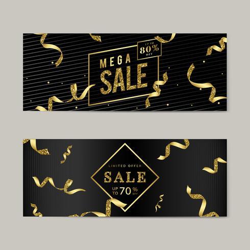 Gyllene försäljningsskylt vektor uppsättning
