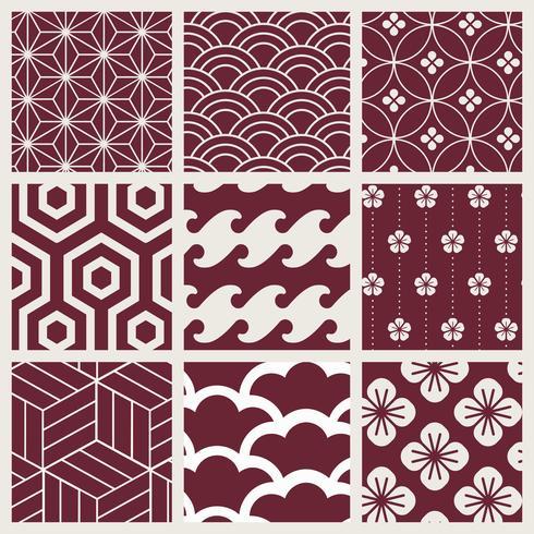Japansk-inspirerad mönster vektor uppsättning