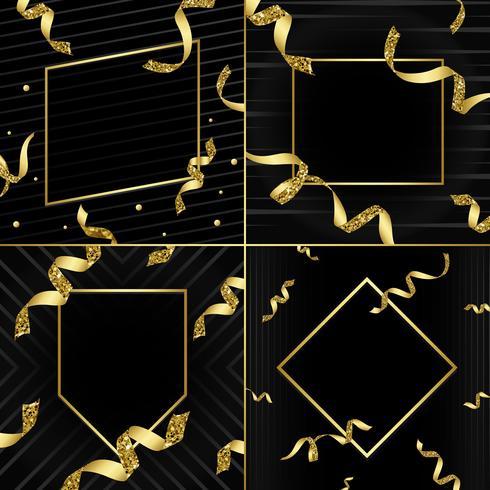 Leeres goldenes Emblem mit Konfettivektorsatz