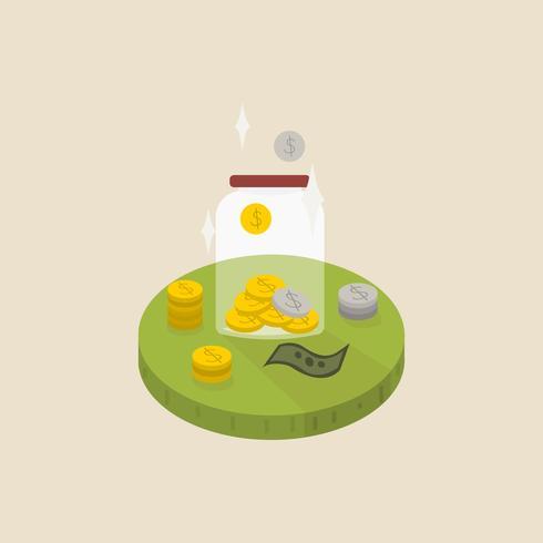Ilustración de dinero en un tarro