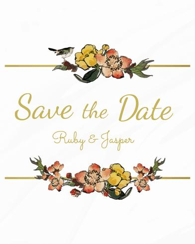 Réservez la date avec le vecteur de design floral