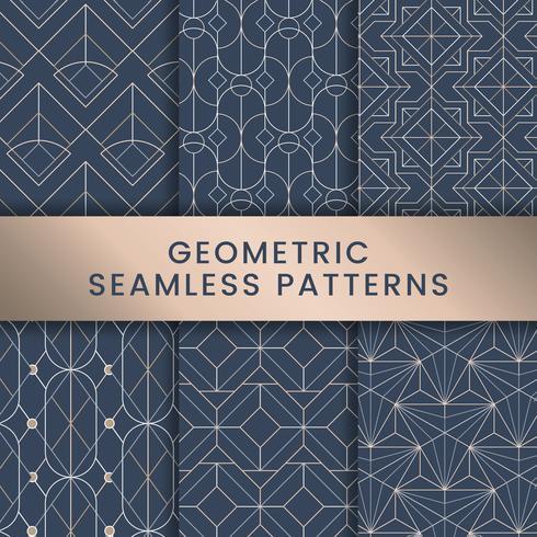 Weiße geometrische nahtlose Muster eingestellt auf blauen Hintergrund