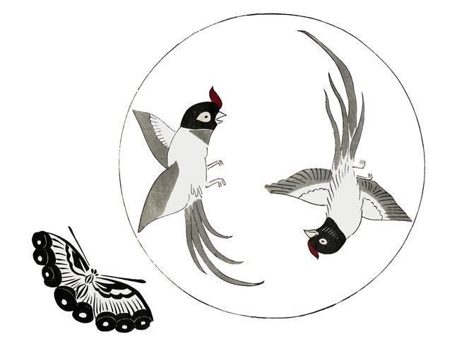 Vintage Illustration of Japanese vintage birds and butterfly