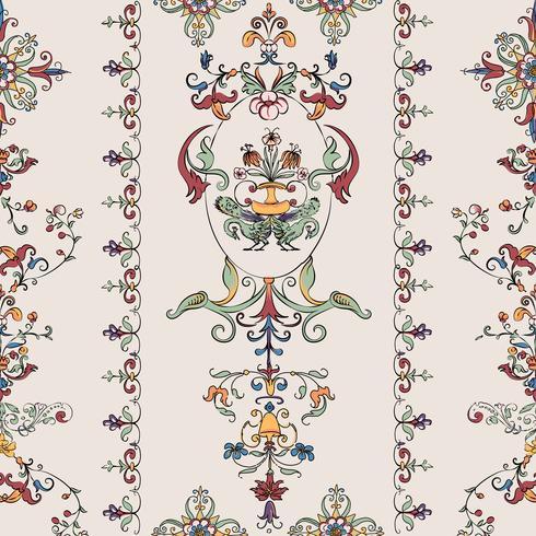 Vintage blomstrande mönster vektor
