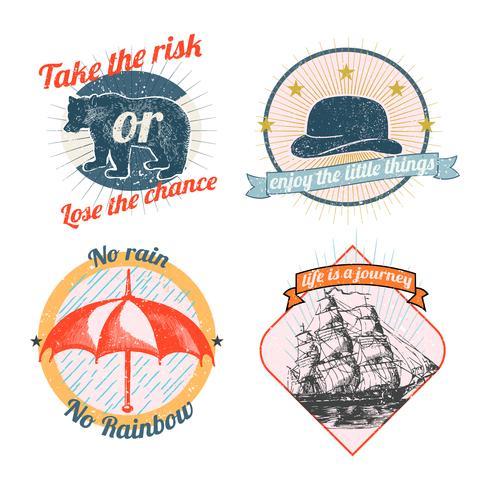 Collection de logos et d'autocollants d'époque