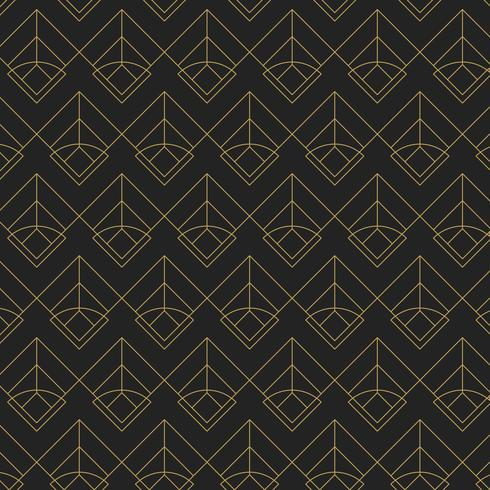 Patrón geométrico transparente dorado sobre fondo negro