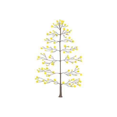 Árbol con vector de hojas redondas amarillas