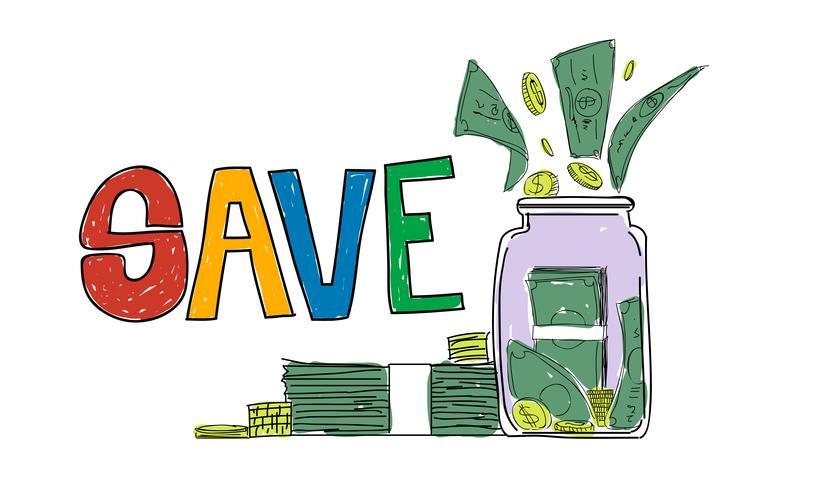 Illustration av pengar besparingar