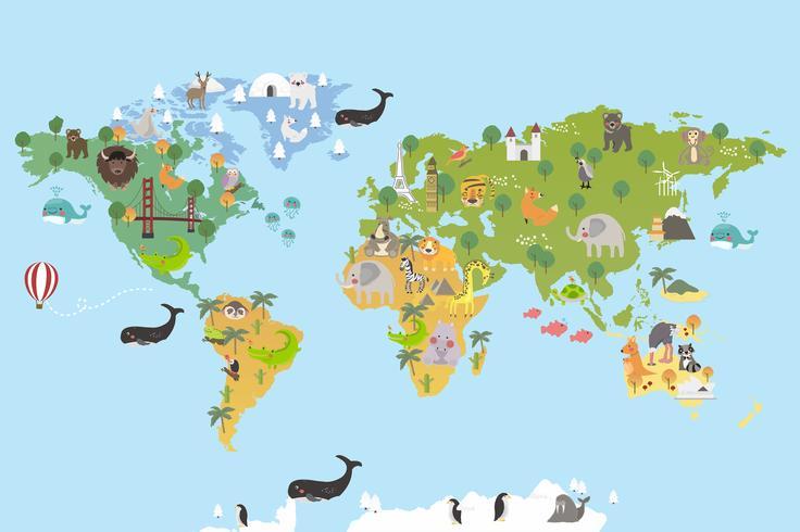 Monumentos mundiales y animales.