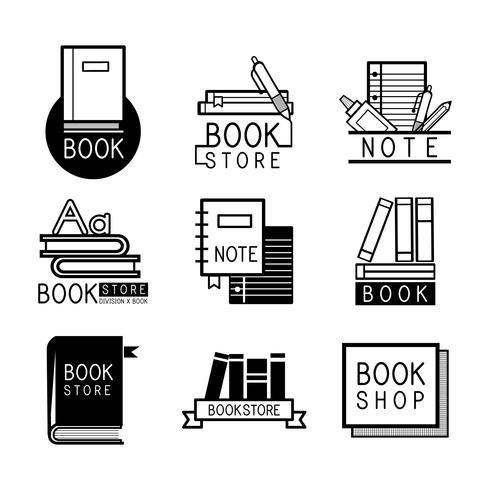 Buchhandlungslogos und gesetzter Vektor des Zeichens
