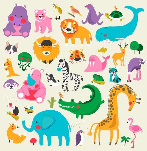 Dibujos animados de animales de vida silvestre
