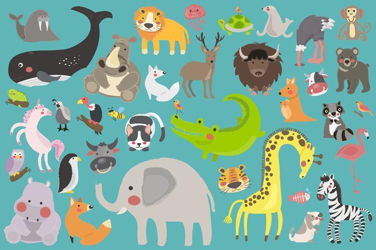Tierkarikaturen der wild lebenden Tiere