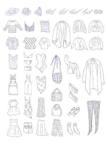 Vetor de diferentes tipos de roupas