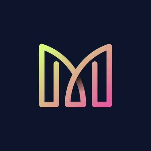 Retro colorful letter M vector