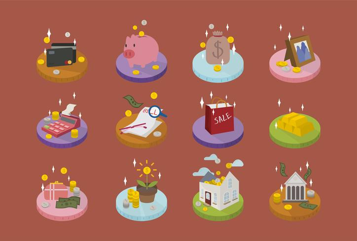Cute accounting and financial icons