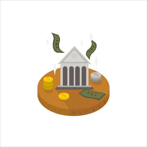 Ilustração, de, dinheiro, e, um, banco, ícone