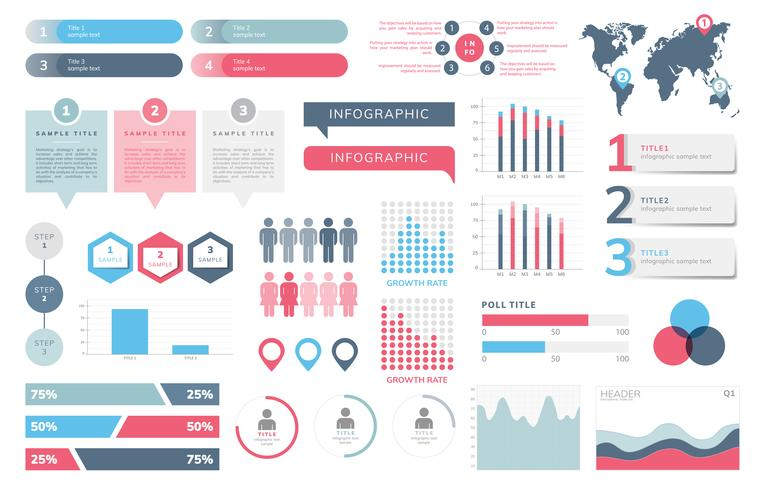 Sats av företagsinfografiska vektorer