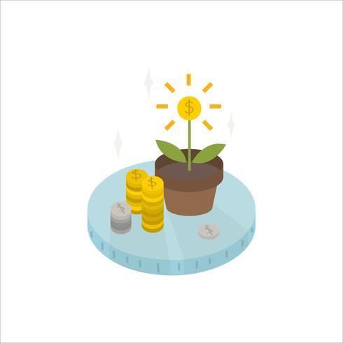 Illustration von wachsenden Münzen von der Betriebsikone
