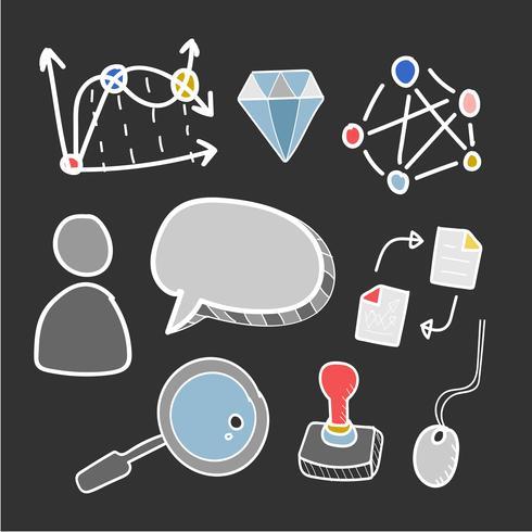 Doodle conjunto de ícones de redes de computadores