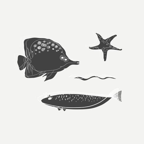 Dibujo animado de criaturas marinas
