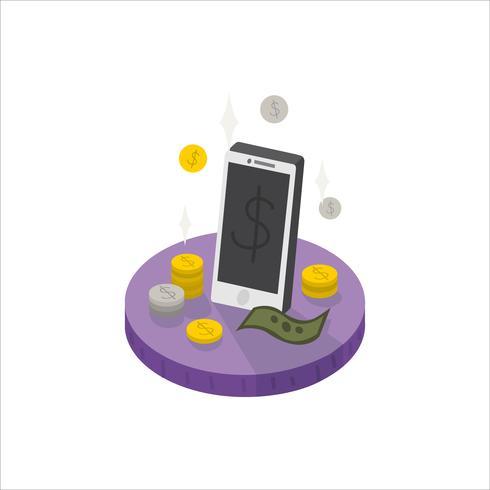Ilustração, de, móvel, e, dinheiro, ícone