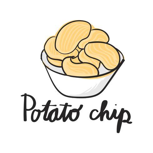 Estilo de desenho de ilustração de batatas fritas