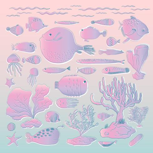 Vetor de criaturas subaquáticas