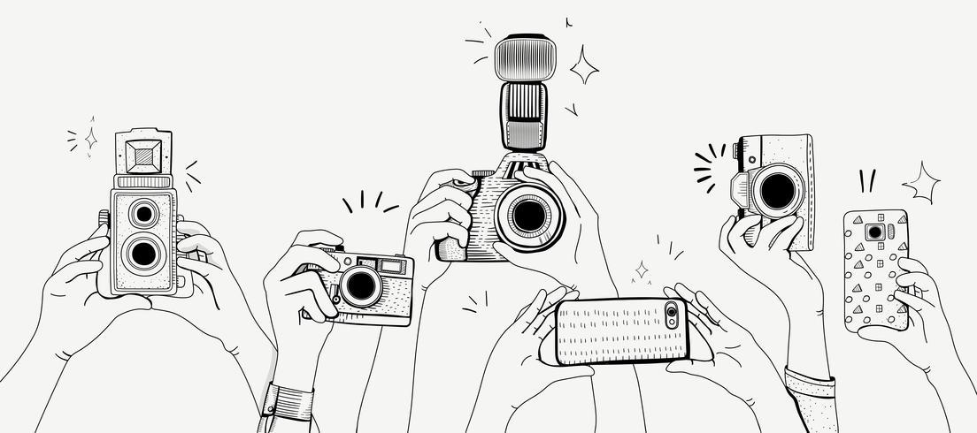 Vector van handen die foto's nemen