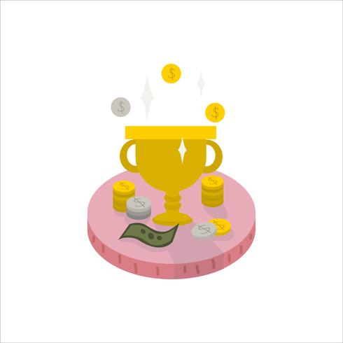 Illustration of a trophy and cash