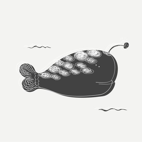 Fantasie walvis tekening vector