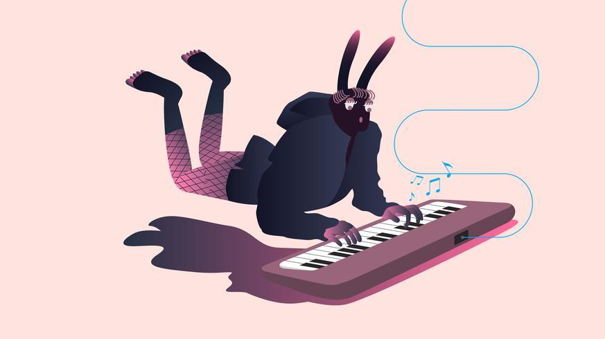 Ilustración de músicos surrealistas.