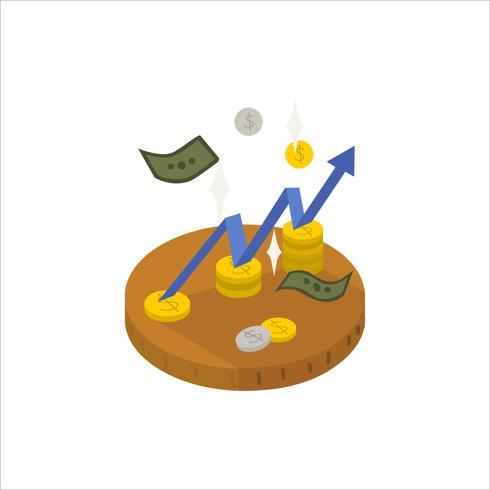 Illustration d'une flèche qui monte et icône de l'argent