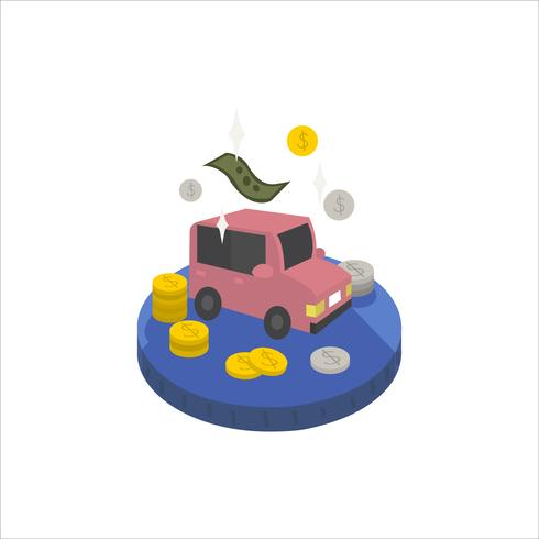 Illustration of a car and cash icon