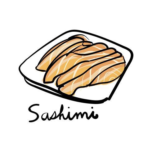 Illustrationszeichnungsart des Sashimis