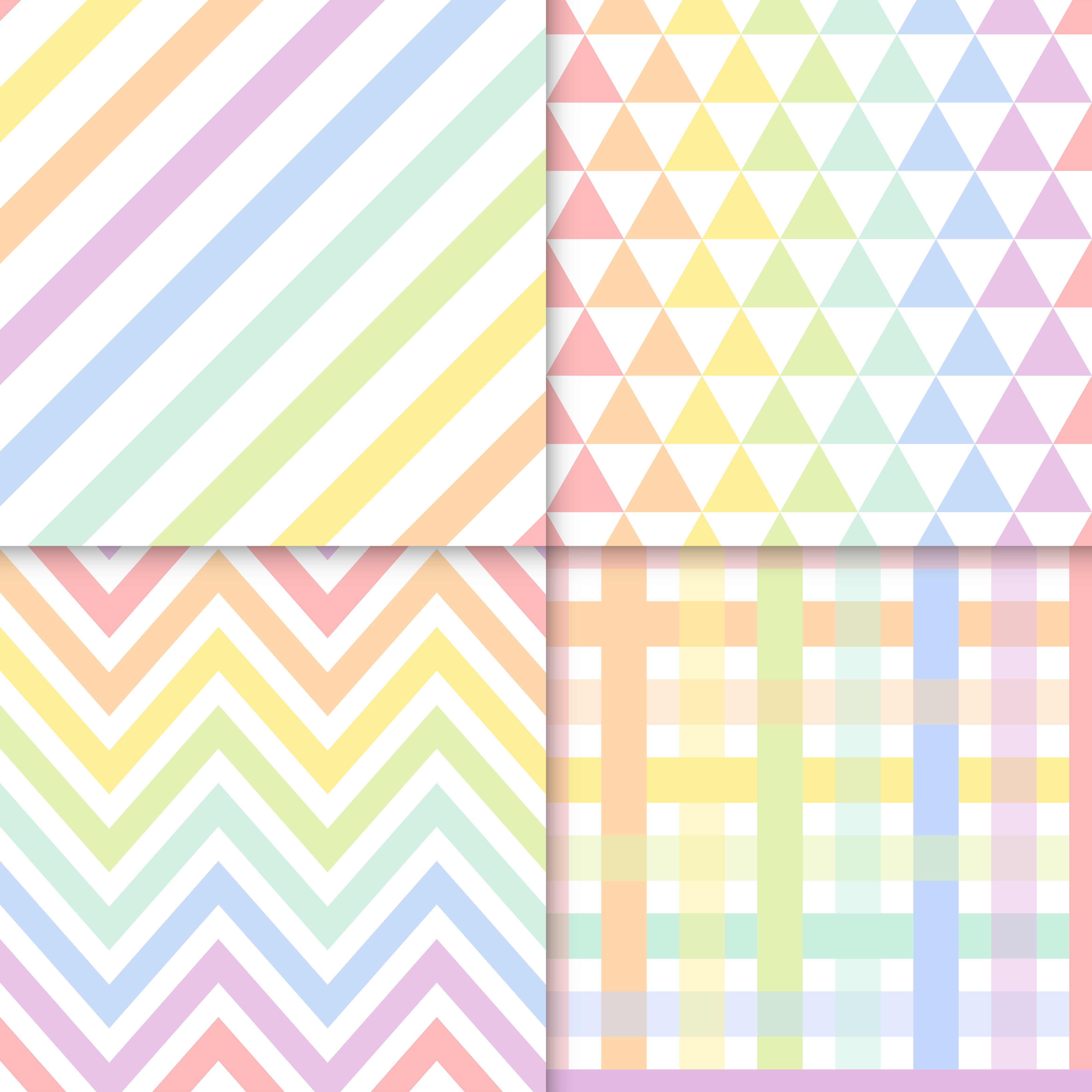 Seamless Pastel Patterns Vector Set Download Free