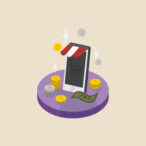 Illustratie van geld en online winkelen