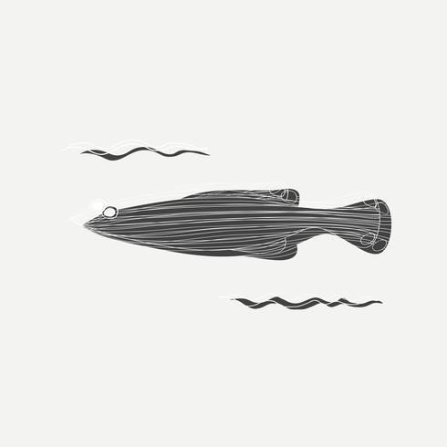 Cartoon tekening van een vis