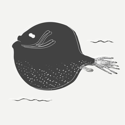 Vettore di disegno pesce rotondo
