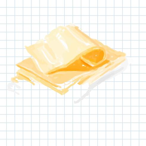Hand drawn cheese watercolor style