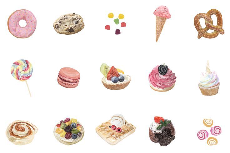 Handgjorda sötsaker akvarell stil