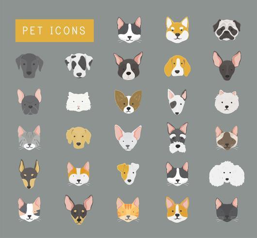 Collezione di icone di gatti e cani