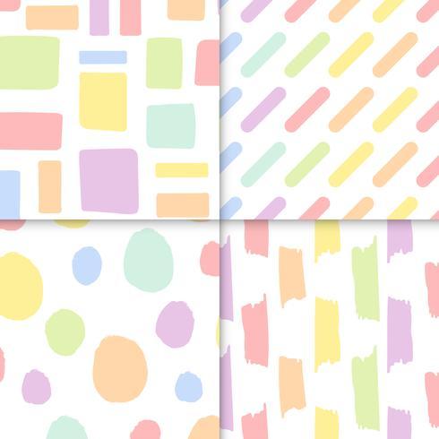 Naadloze pastel patronen vector set