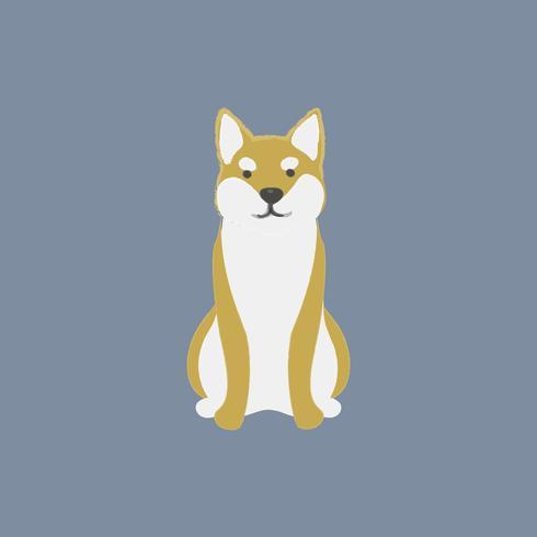 Gullig illustration av en shiba inu hund