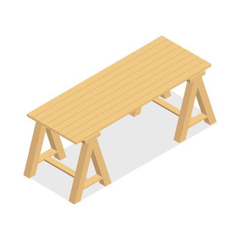 Tavolo in legno isolato su sfondo