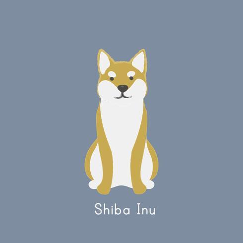 Leuke illustratie van een inuhond van Shiba