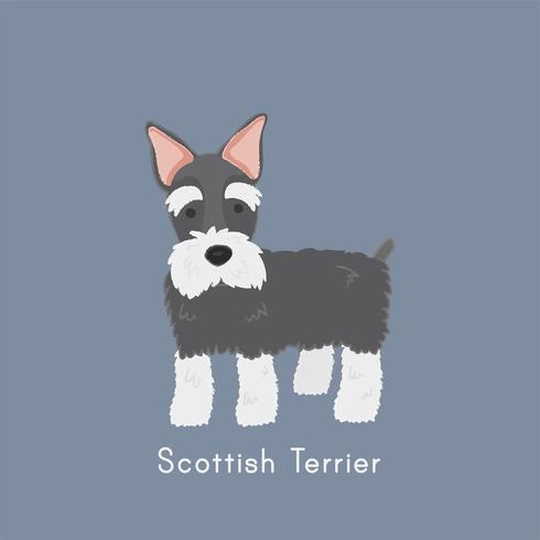 Linda ilustración de un perro terrier escocés