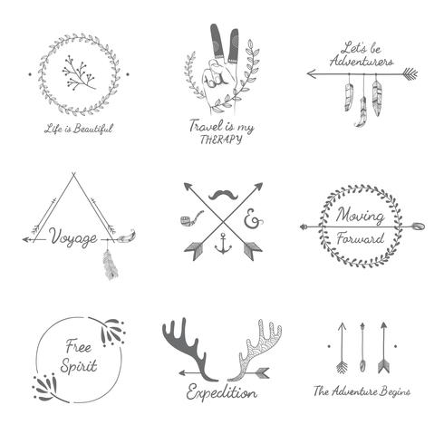 Hand drawn travel design collection