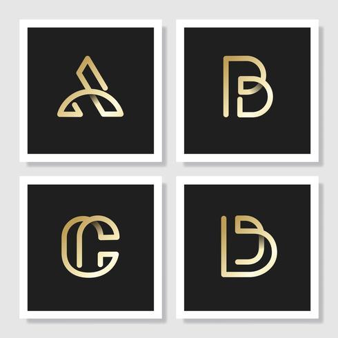 Gyllene retro alfabet vektor uppsättning